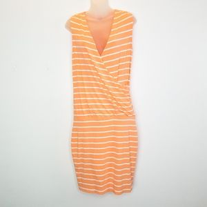 Ann Taylor Orange Striped Crossover Wrapped Dress